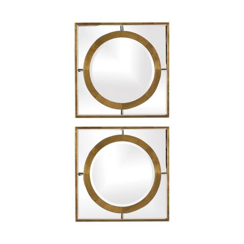 Gaza Square Mirrors - Set of 2 - Gold