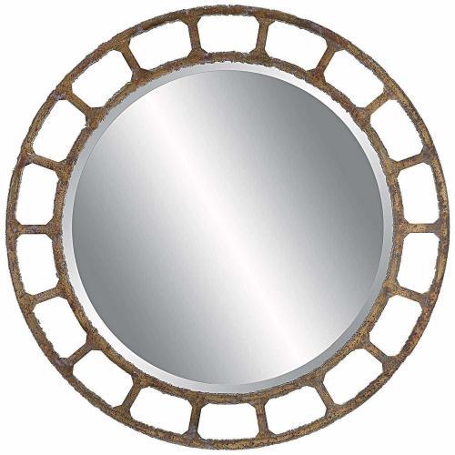 Darby Distressed Round Mirror