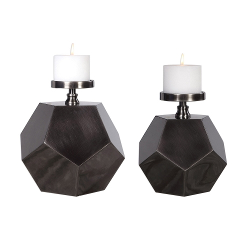 Dash Steel Polygon Candleholders - Set of 2