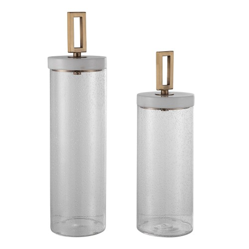 Hayworth Seeded Glass Containers - Set of 2