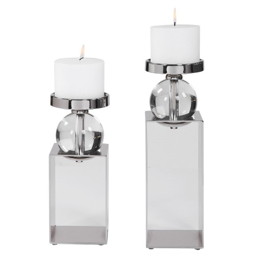 Lucian Candleholders - Set of 2 - Nickel