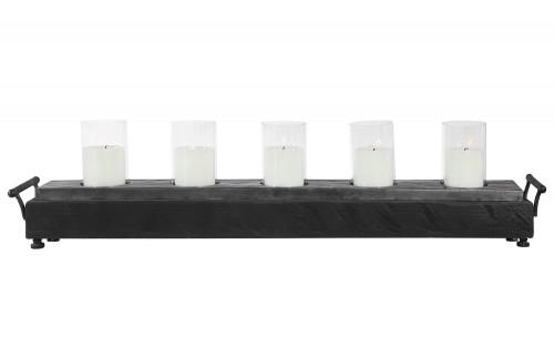 Cordaro Wood Candleholder - Charcoal