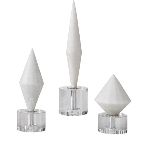 Alize White Stone Sculptures - Set of 3
