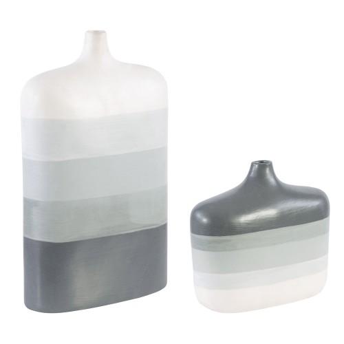 Guevara Striped Vases - Set of 2 - Gray
