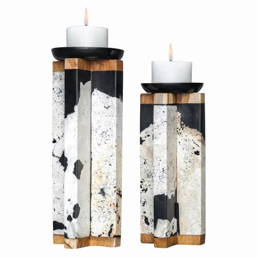 Illini Stone Candleholders - Set of 2