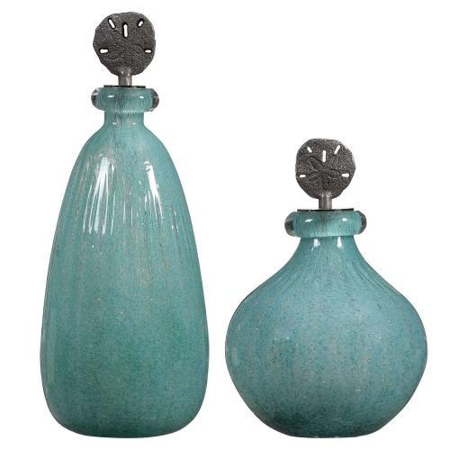 Mellita Aqua Glass Bottles - Set of 2