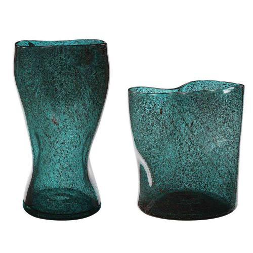 Lulu Aqua Glass Vases - Set of 2