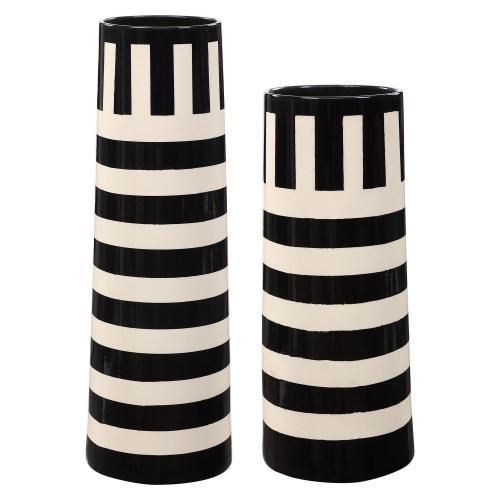 Amhara Vases - Set of 2 - Black/White