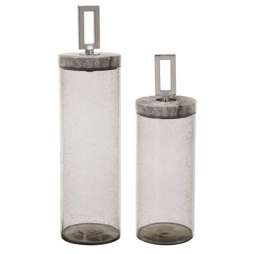 Carmen Seeded Glass Containers - Set of 2
