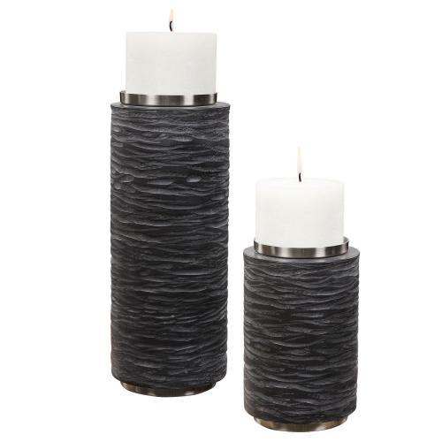 Strathmore Candleholders - Set of 2 - Stone Gray