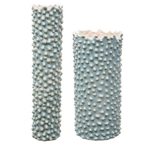 Ciji Aqua Ceramic Vases - Set of 2