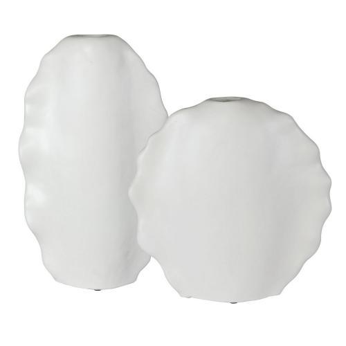 Ruffled Feathers Modern Vases - Set of 2 - White