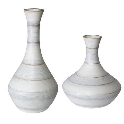 Potter Fluted Striped Vases - Set of 2
