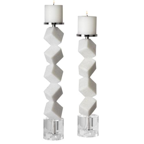 Casen Marble Cube Candleholders - Set of 2
