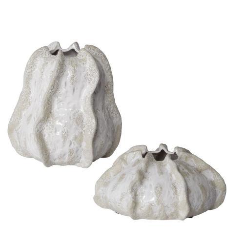 Urchin Vases - Set of 2 - Textured Ivory