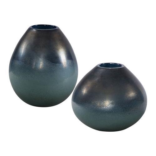 Rian Vases - Set of 2 - Aqua Bronze