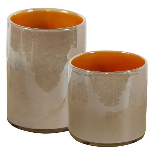Tangelo Vases - Set of 2 - Beige Orange