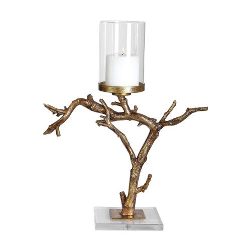 Saud Branch Candleholder - Gold