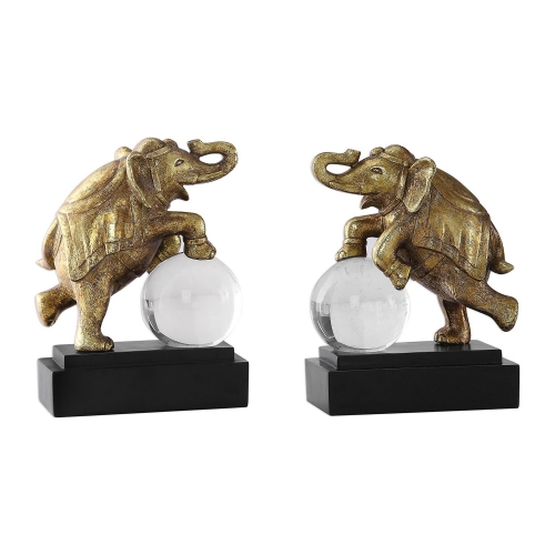Circus Act Elephant Bookends - Set of 2 - Gold