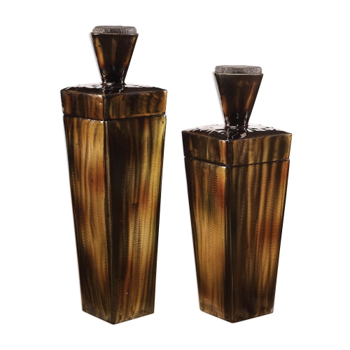 Lisa Steel Containers - Set of 2 - Brown