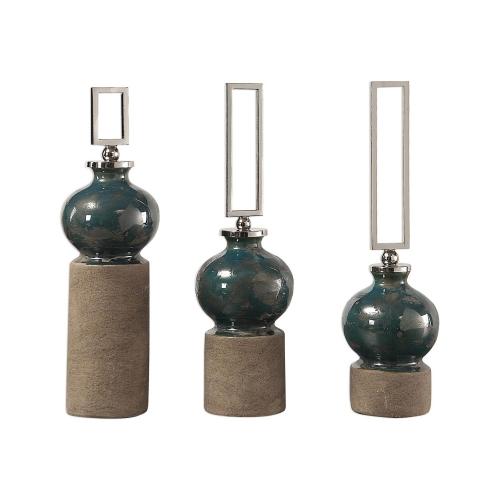 Francis Glaze Bottles - Set of 3 - Blue