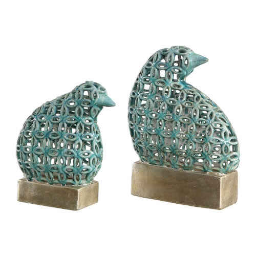 Sama Teal Bird Sculptures - Set of 2