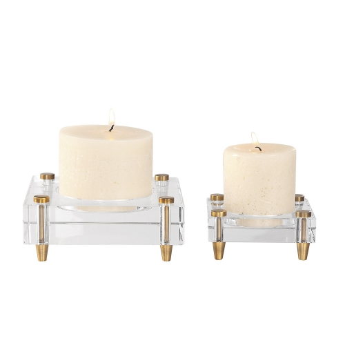Claire Crystal Block Candleholders - Set of 2