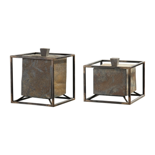 Slate Cube Boxes - Set of 2