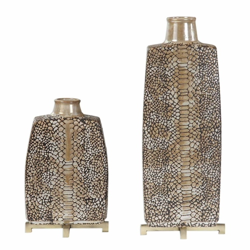 Reptila Textured Ceramic Vases - Set of 2