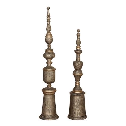 Nalini Antique Gold Finials - Set of 2