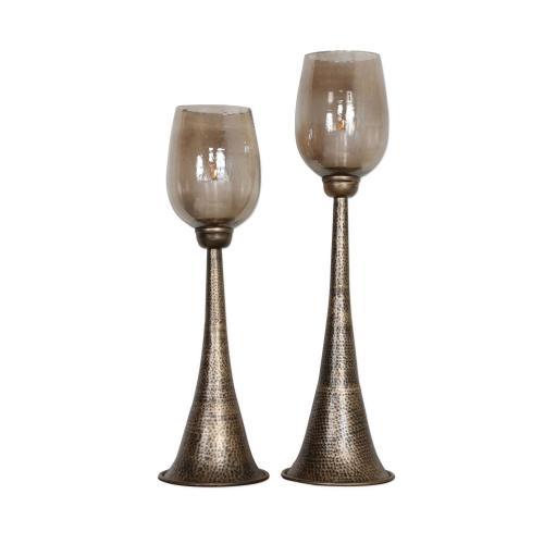 Badal Candleholders - Set of 2 - Antiqued Gold
