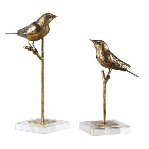 Passerines Bird Sculptures - Set of 2