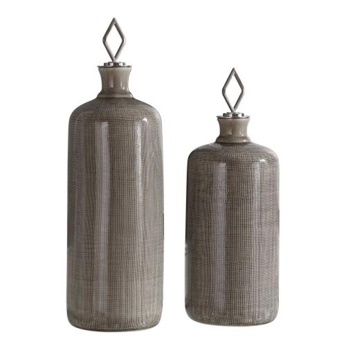 Dhara Bottles - Taupe Glaze - Set of 2