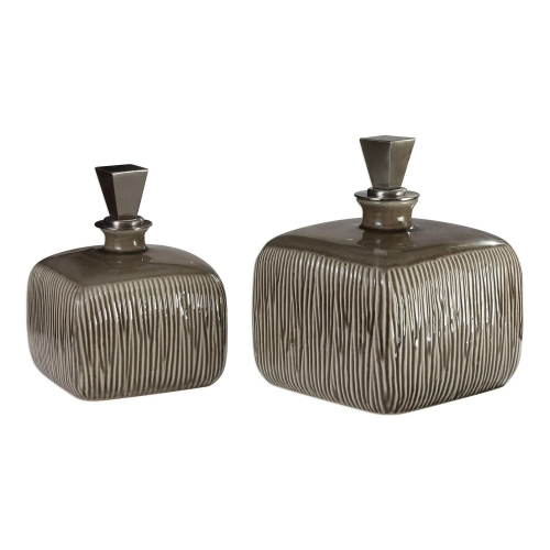 Cayson Ribbed Ceramic Bottles - Set of 2