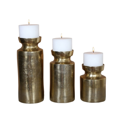 Amina Candleholders - Set of 3 - Antique Brass