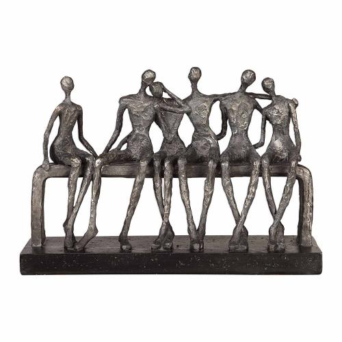 Camaraderie Figurine - Aged Silver