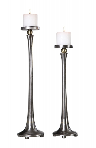 Aliso Cast Iron Candleholders - Set of 2