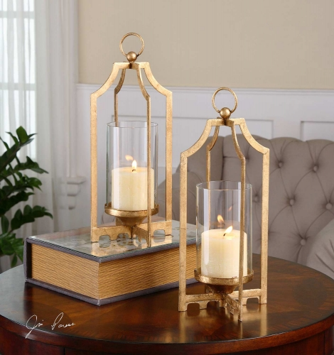 Lucy Gold Candleholders - Set of 2