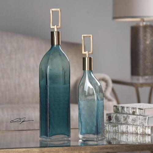 Annabella Teal Glass Bottles - Set of 2