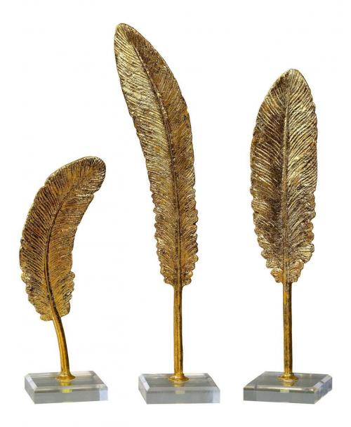 Feathers Sculpture - Set of 3 - Gold