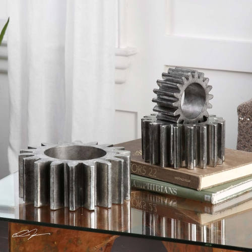 Gears Silver Sculpture - Set of 3