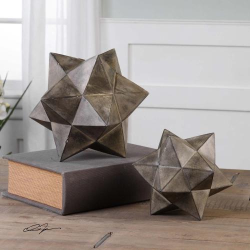 Geometric Stars Concrete Sculpture - Set of 2