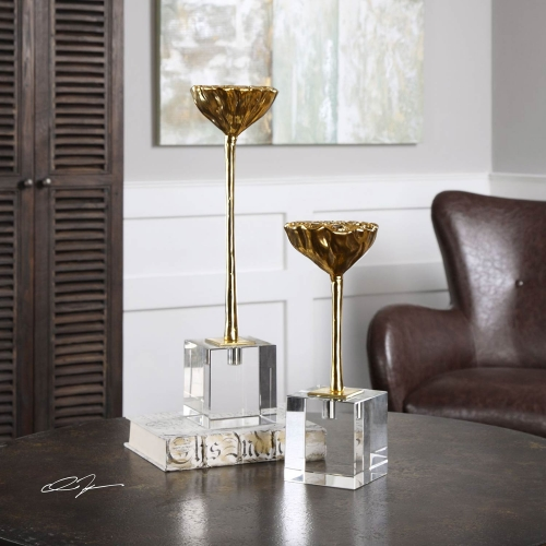 American Lotus Pod Gold Sculptures - Set of 2