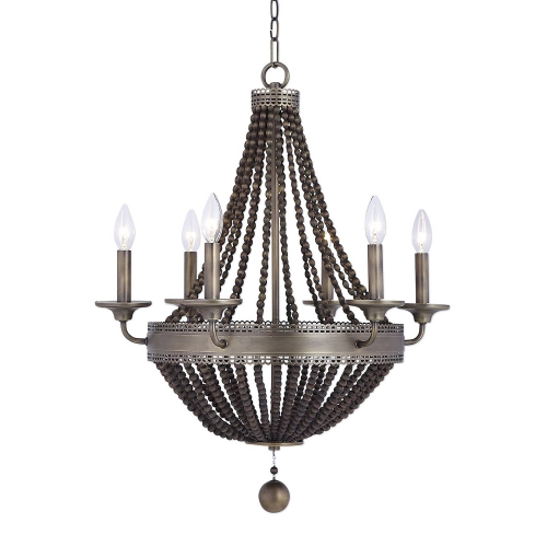 Thursby 6-Light Beaded Chandelier - Brass