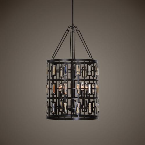 Rhombus 5 Light Lantern Bronze Pendant