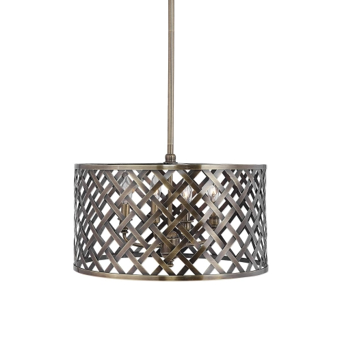 Grata 4-Latticework Pendant - Light Brass
