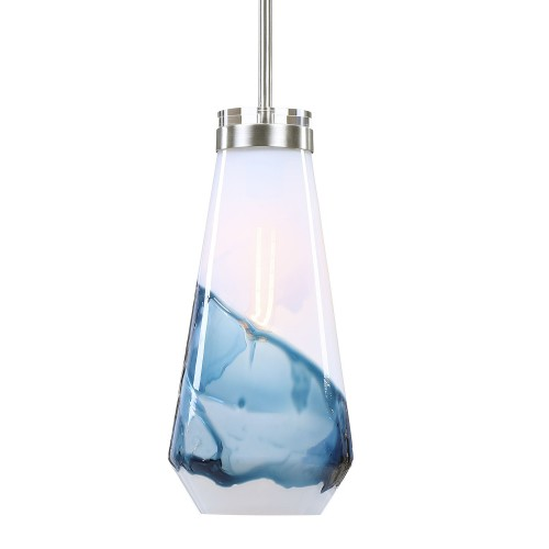 Windswept 1 Light Mini Pendant - Blue/White