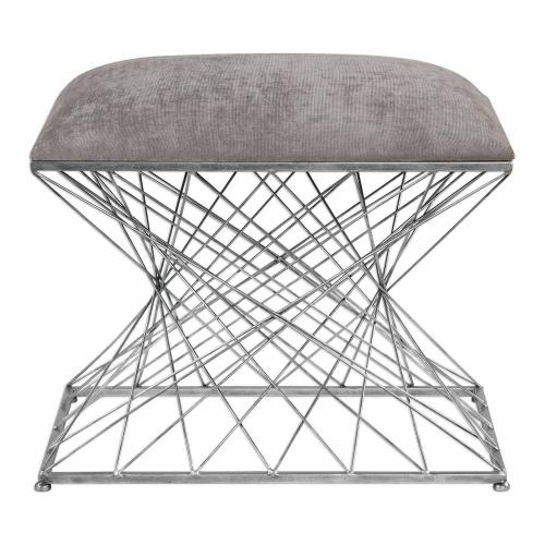 Zelia Accent Stool - Silver