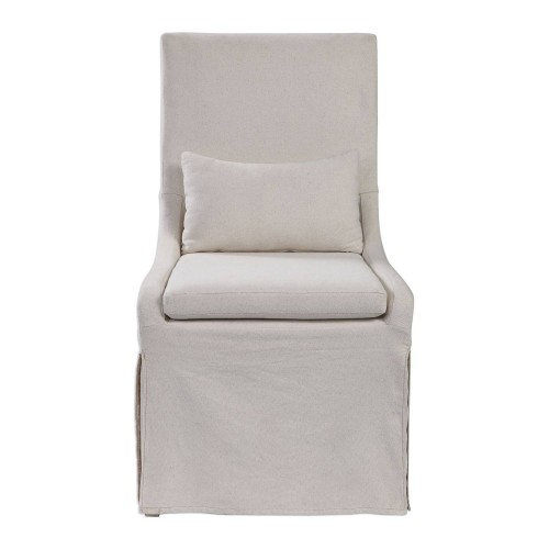 Coley Armless Chair - White Linen