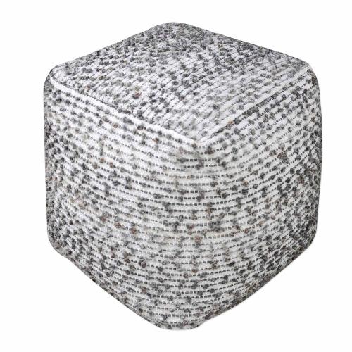 Valda Wool Pouf - Linen